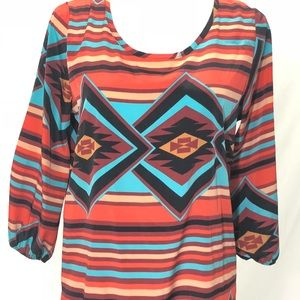 Filly Flair Tops - Filly Flair Size Medium Aztec Hi-Lo Tunic Top
